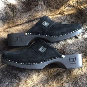 Chanel Black Suede Clogs Sz 9/39